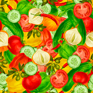 Vegetable organic food seamless background with cucumber onions  chili pepper tomato vector illustraのイラスト素材 [FYI03092579]