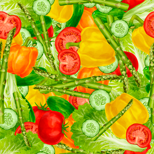 Vegetable organic food mix seamless background with bell pepper tomato asparagus vector illustrationのイラスト素材 [FYI03092580]