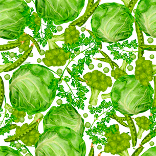 Green vegetable organic food seamless pattern with cabbage parsley peas vector illustration.のイラスト素材 [FYI03092583]