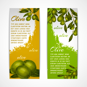 Green vegetable organic food olives vertical banners set isolated vector illustrationのイラスト素材 [FYI03092589]