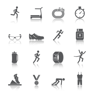 Running race sport activity black silhouette icons set isolated vector illustrationのイラスト素材 [FYI03092593]