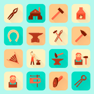 Decorative blacksmith shop anvil fire place molding tools and horseshoe pictograms icons collectionのイラスト素材 [FYI03092594]