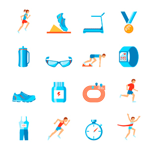 Running race sport activity flat set of fitness clothes shoes and runner icons isolated vector illusのイラスト素材 [FYI03092595]