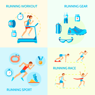 Running jogging composition of workout gear sport race icons isolated vector illustrationのイラスト素材 [FYI03092597]