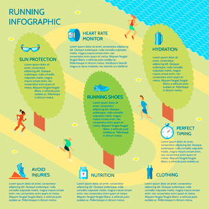 Running jogging in park sport infographic with nutrition protection clothing elements vector illustrのイラスト素材 [FYI03092598]