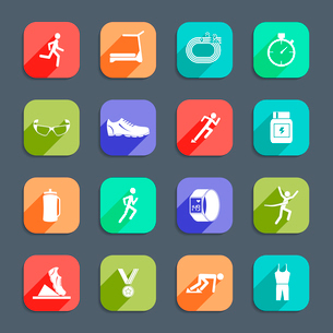 Running race sport activity icons set of exercises cross training flat  icons isolated vector illustのイラスト素材 [FYI03092599]