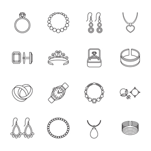 Jewelry outline icons set of bracelet ring necklace isolated vector illustrationのイラスト素材 [FYI03092600]
