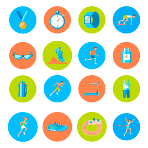 Running race sport activity round buttons icons set isolated vector illustrationのイラスト素材 [FYI03092601]