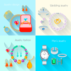 Jewelry flat decorative icons set of wedding fashion jewellery designs isolated vector illustrationのイラスト素材 [FYI03092603]