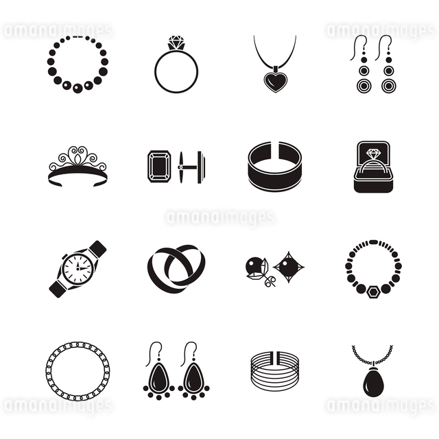 Jewelry black icons set of diamond gold fashion expensive accessories isolated vector illustration.のイラスト素材 [FYI03092604]