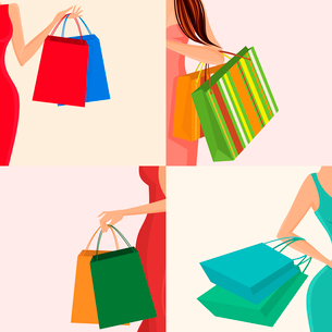 Young females holding shopping bags in hands decorative elements set isolated vector illustrationのイラスト素材 [FYI03092607]