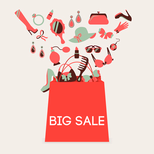 Woman shopping bag made of girl accessories big sale poster vector illustrationのイラスト素材 [FYI03092608]