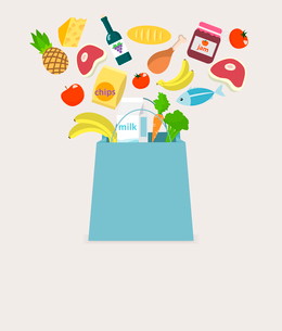 Food elements grocery items vegetables fruits fish and meat in shopping bag vector illustrationのイラスト素材 [FYI03092609]
