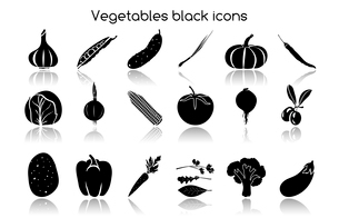 Vegetable organic food black icons set of garlic peas cucumber chives isolated vector illustrationのイラスト素材 [FYI03092610]