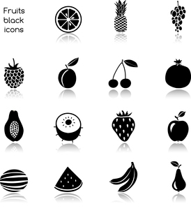 Natural organic fruits and berries black icons set of cherry pomegranate plum isolated vector illustのイラスト素材 [FYI03092611]