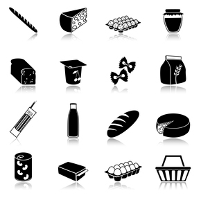 Food icons set of bread milk bottle egg box flour pack isolated vector illustrationのイラスト素材 [FYI03092612]