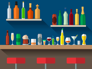 Bar counter with stools and alcohol drink on shelves flat vector illustrationのイラスト素材 [FYI03092613]