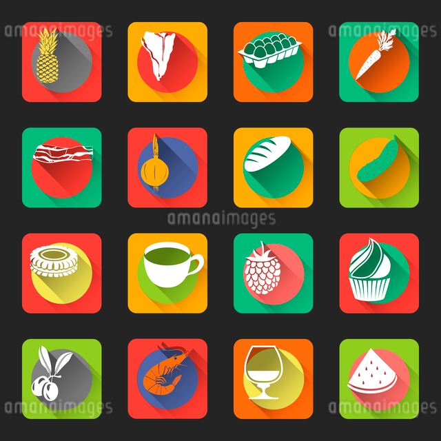 Food flat icons set of fruit meat vegetables isolated vector illustrationのイラスト素材 [FYI03092615]