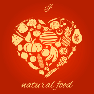 Heart made of fruits and vegetables natural organic food concept vector illustrationのイラスト素材 [FYI03092617]
