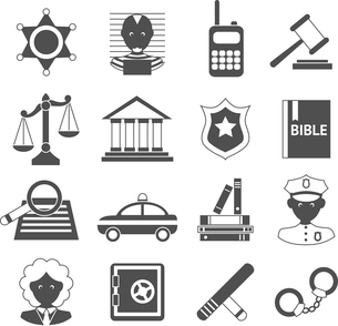 Law legal justice judge police and legislation black and white icons set isolated vector illustratioのイラスト素材 [FYI03092618]