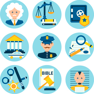 Law legal justice judge police and legislation icons set isolated vector illustrationのイラスト素材 [FYI03092621]