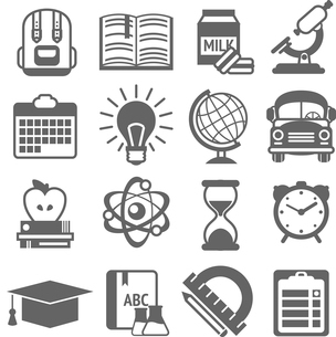 Education knowledge science college and school black and white icons set isolated vector illustratioのイラスト素材 [FYI03092622]