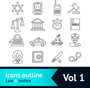 Law and justice business icons set of police court lawyer judge vector illustrationのイラスト素材 [FYI03092624]