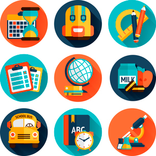 Education knowledge science college and school supplies flat icons set isolated vector illustrationのイラスト素材 [FYI03092625]