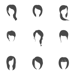 Girl head silhouettes hair style icons set isolated vector illustrationのイラスト素材 [FYI03092633]