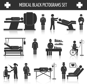 Medical hospital ambulance emergency healthcare services black pictograms set isolated vector illustのイラスト素材 [FYI03092634]