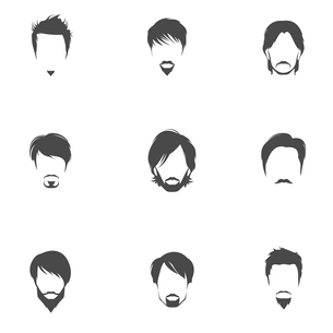 Handsome man male head silhouettes avatars set with haircut styles isolated vector illustration.のイラスト素材 [FYI03092635]