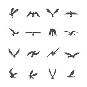 Set of eagles heraldic silhouette wings and bird icons set vector illustrationのイラスト素材 [FYI03092636]
