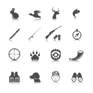 Set of hunting animal wild life leisure icons with reflection effect vector illustrationのイラスト素材 [FYI03092637]