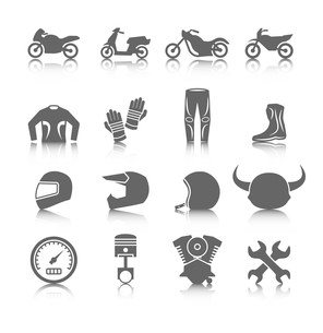 Set of motorcycles helmet gloves boots jacket pants riders icons in gray color with reflectionのイラスト素材 [FYI03092638]