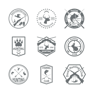 Set of hunting animal wild life leisure labels emblem with letterpress in gray color  vector illustrのイラスト素材 [FYI03092639]