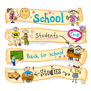 Four  horizontal school kids education earning creative activities wave ribbon banners sketch doodleのイラスト素材 [FYI03092641]