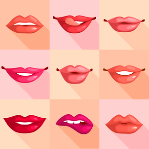 Set of mouth smile red sexy woman lips in flat style vector illustrationのイラスト素材 [FYI03092644]