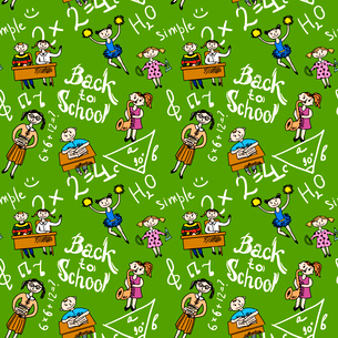 Kids cheerleading learning with school accessories background seamless doodle sketch pattern vectorのイラスト素材 [FYI03092649]