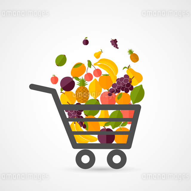 Shopping cart with fresh fruits concept in flat style vector illustrationのイラスト素材 [FYI03092650]