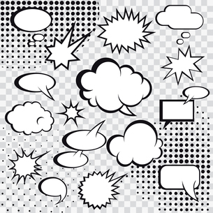 Comic speech bubbles and comic strip on monochrome halftone background vector illustrationのイラスト素材 [FYI03092654]