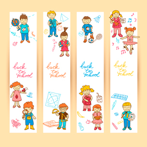 Set of banners with  doodle cute study school education girls and boys in color vector illustrationのイラスト素材 [FYI03092655]