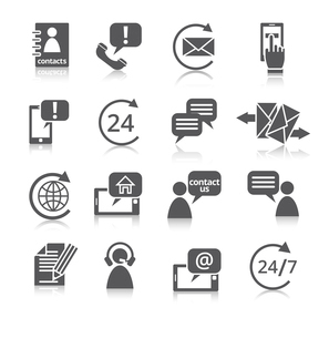 Contact us service icons set  with reflection of email phone communication and representative personのイラスト素材 [FYI03092656]