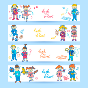 Set of banners with  doodle cute study school education girls and boys in color vector illustrationのイラスト素材 [FYI03092658]