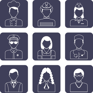 Avatar professions outline icons set of doctor firefighter judge pilot isolated vector illustrationのイラスト素材 [FYI03092662]