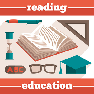 Reading education icons set with book and stationery isolated vector illustrationのイラスト素材 [FYI03092664]
