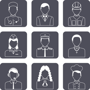 Avatar professions outline icons set of church priest engineer lawyer manager isolated vector illustのイラスト素材 [FYI03092666]