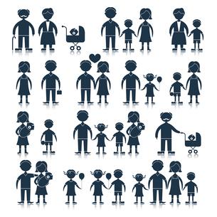 Family figures icons black set of men women children isolated vector illustrationのイラスト素材 [FYI03092669]