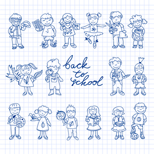 Set of carton doodle cute study education kids in color back to school vector illustrationのイラスト素材 [FYI03092670]