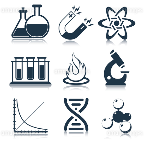 Physics science laboratory equipment black education icons set isolated vector illustrationのイラスト素材 [FYI03092672]