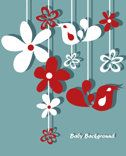 Stylish floral background, hand drawn retro flowers and birdsのイラスト素材 [FYI03092678]